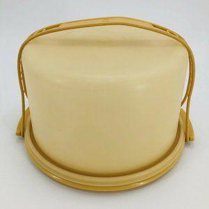 Vintage Round Yellow Tupperware Cake Taker #1256 H